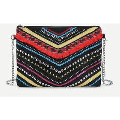 1b93f226401f Fringe Studded Detail Clutch Bag ❤ liked on Polyvore featuring bags