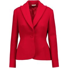 DELPOZO - Textured Wool-blend Blazer ($594) ❤ liked on Polyvore featuring outerwear, jackets, blazers, red, textured blazer, textured jacket, blazer jacket, wool blend blazer and red blazer