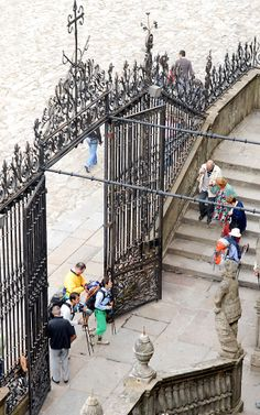 Pilgrims arriving at the west entrance to the cathedral.  Michael Krier
