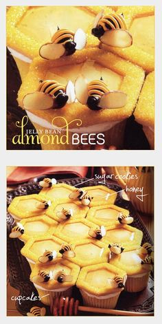 """""""Bees"""" are made up of black jelly beans, sliced almonds, and yellow & black frosting. The """"Hive"""" is constructed of vanilla cupcakes topped with hexagon-shaped sugar cookies covered in yellow decorating sugar. To create the """"honeycomb"""" effect, the center portion of the dough was removed from each sugar cookie before baking. This step also creates the perfect space for drizzling a little honey before topping with an adorable jelly bean bee. -HWTM (What's New, Cupcake? Karen Tack, Alan…"""