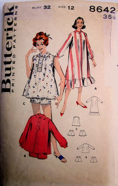 Vintage 1950s Butterick 8642 Womens Nightshirt or by Denisecraft, $10.99