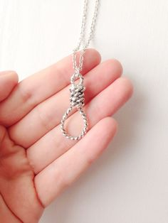 ☽ Creepy antique silver noose pendant necklace. ☼ 18 or 24 in length.