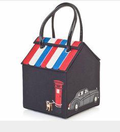 Lulu Guinness souvenir shop bag (black) - Lulu Guinness from . Unique Handbags, Unique Purses, Lulu Guinness, Boho Chic, Black Cab, Shops, Bowling Bags, Black Canvas, Leather Handle