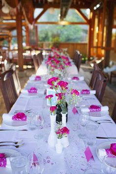 Shabby fuchsia wedding table setting inspiration | Inspiring post by Bridestory.com, everyone should read about Shabby Chic Wedding with Vibrant Colors in Vancouver on http://www.bridestory.com/blog/shabby-chic-wedding-with-vibrant-colors-in-vancouver