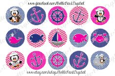 "Nautical Penguins   - 1"" Image Sheet for use on bottle caps, necklaces, bow centers, crafts, confetti, party supplies and more!"