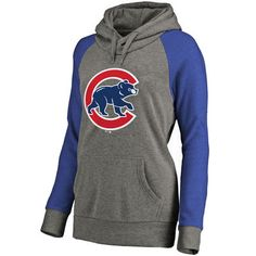 Women's Chicago Cubs Ash Primary Logo Raglan Sleeve Tri-Blend Pullover Hoodie