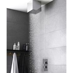 Hudson Reed Art thermostatic shower valve with square fixed shower head