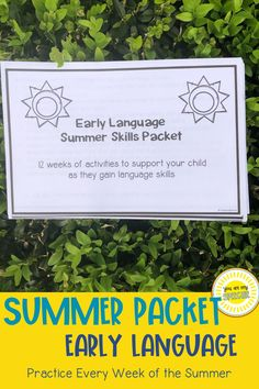 Ready to support your early language learners over the summer! Try this summer homework packet. Perfect for AAC users and early language learners. Complete an activity each day of the week included modeling, creating, gross motor moving, teaching language strategies, and incorporating language into daily routines. This 12 week lesson will support parents and students as they learn language through fun, interactive, and engaging activities! Preschool Speech Therapy, Speech Therapy Activities, Articulation Activities, Language Activities, Summer Homework, Daily Routines, Language Development, Gross Motor, Summer Ideas