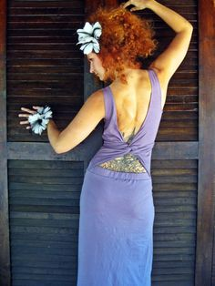Long maxi dress, wrapping back, open back, fairy, goddess dress, in Lilac purple, XS size. $52.00, via Etsy.