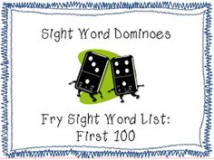 Sight word dominoes using the second 100 Fry Words. Students play dominoes in a traditional manner, but match up sight words instead of dot patterns. Fry Words, Fry Sight Words, Teaching Sight Words, Sight Words List, Sight Word Practice, Sight Word Games, Sight Word Activities, Teaching Phonics, Kindergarten Reading