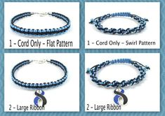 Black and Blue Awareness Bracelet, Macrame, Loss of Male Child, Loss of Brother, Mourning of Son, Mourning of Brother, Anti-Terrorism