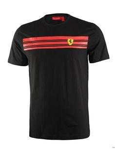 Koszulka Ferrari Mens Striped Tee - Black 3 CZARNY | FERRARI MEN \ T-SHIRT | Fbutik | Scuderia Ferrari Collection
