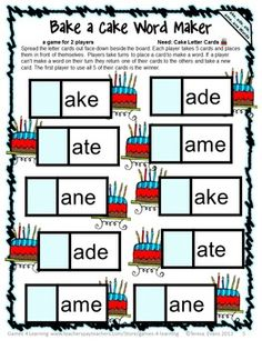 Bake a Cake board game for silent e words with long a. Silent e Phonics Games from Games 4 Learning contains 10 printable Silent e Phonics Board Games. $