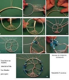Wrapped Tree Of Life Ornament DIY Tree of Life Amulet - the link has English instructions. Same steps for a dream catcherDIY Tree of Life Amulet - the link has English instructions. Same steps for a dream catcher Tree Of Life Jewelry, Tree Of Life Necklace, Tree Of Life Pendant, Necklace Tutorial, Earring Tutorial, Diy Necklace, Diy Projects Etsy, Diy Collier, Wire Tree Sculpture