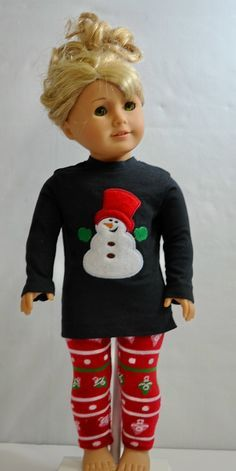American Girl Size Christmas Leggings and by ThreadsAndSplinters, $20.00    -   For inspiration!