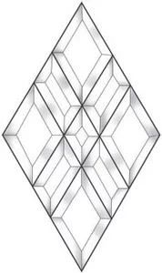 Exquisite Diamond Bevel Cluster - An Exceptional Value. Create a beautiful beveled panel, door, transom, or window with this diamond bevel cluster. Quilt Block Patterns, Pattern Blocks, Quilt Blocks, Cut Glass, Glass Art, Mosaic Windows, Delphi Glass, Free Adult Coloring Pages, Glass Cabinet Doors