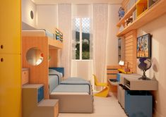 Quarto para três irmãos - quarto divertido - madeira+cinza+azul+amarelo