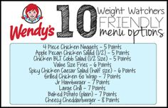 Wendys101 300x195 50 Weight Watchers Friendly Fast Food Menu Options   All Under 8 Points