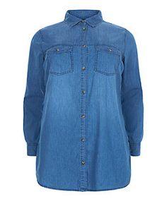 Plus Size Blue Denim Double Pocket Long Sleeve Shirt  | New Look