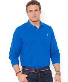 Polo Ralph Lauren Big and Tall Long-Sleeved Mesh Polo Shirt