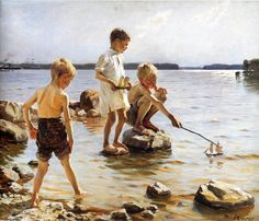 Albert Gustaf Aristides Edelfelt July 1854 - 18 August was a Finnish painter born in Porvoo, Finland. His father Carl Albert was an architect. Google Art Project, Art Plage, La Rive, Nordic Art, Boys Playing, Gustav Klimt, Renoir, Vincent Van Gogh, Art Google