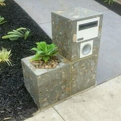 Concrete charcoal 3 piece unique custom letterbox with floating planter box, bespoke handmade furniture. Concrete Sealer, Concrete Bench, Concrete Furniture, Concrete Planters, Cement, Log Stools, Unique Mailboxes, Kitchen Window Sill, Modern Mailbox