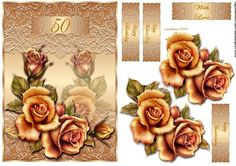 Golden roses 50 anniversary on french lace on Craftsuprint designed by Marijke Kok - Beautiful roses on a golden french lace background topper, for anniversary,birthday and other occasions - Now available for download!