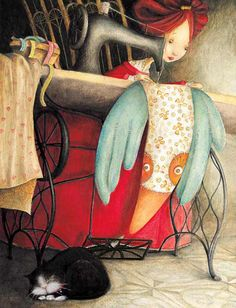"""Valeria Docampo, illustration for """"The Bird Lady"""". And the cat asleep beneath the sewing machine. Art And Illustration, Illustration Mignonne, Art Fantaisiste, Vintage Sewing Machines, Sewing Art, Jolie Photo, Whimsical Art, Graphic, Cat Art"""