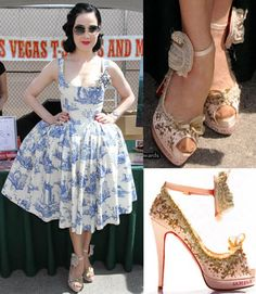 DITA VON TEESE IN VIVIENNE WESTWOOD VINTAGE ROCOCO DRESS. CHRISTIAN LOUBOUTIN MARIE ANTOINETTE SHOES. WESTWOOD PUNK BALLROOM GOWNS. burlesque artist dita von teese new book, signing in las vegas, marilyn manson's wife book tour, goth celebrities, famous gothic people