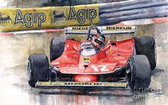 312t4 Gilles Villeneuve Monaco Gp 1979 Painting - Ferrari 312t4 Gilles ...
