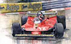 Yurly Shevchuk   WATERCOLOR    Ferrari  312t4 Gilles Villeneuve Monaco Gp 1979 Painting