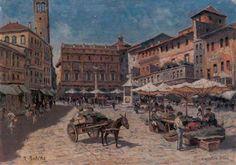 Robert Balcke ( german 1880-1945) - Piazza delle Erbe - oil on canvas, 52,5x75,2 -