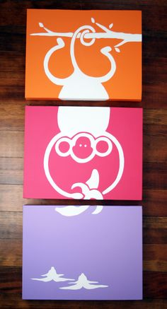 3-piece monkey for the wall in pink