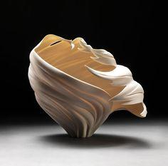 Found Art: 'Wind Vessel' by Jennifer McCurdy Porcelain Jewelry, Fine Porcelain, Porcelain Ceramics, Ceramic Pottery, Ceramic Art, Jennifer Mccurdy, Vases, Foam Carving, Chandelier Art