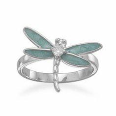 Silver Jewelry Rhodium Plated Enamel CZ Dragonfly Ring - Rhodium plated sterling silver light blue enamel and clear CZ dragonfly ring. The dragonfly measures x and the CZ is Sterling Silver Dragonfly Jewelry, Enamel Jewelry, Crystal Jewelry, Gold Jewelry, Jewelry Rings, Enamel Rings, Cz Jewellery, Dragonfly Art, Jewlery