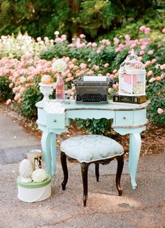 Have you thought of incorporating antique furniture as a place for guest book or place cards? Or possibly even simply for decoration, as seen here!