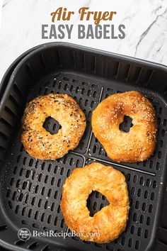 Easy homemade bagels recipe in air fryer! These air fried bagels recipe is so easy uses 2 ingredients and healthy 3 ingredient yogurt bagles in air fryer Bagel Toppings, Baked Fish Fillet, Low Carb Recipes, Healthy Recipes, Homemade Bagels, Bagel Recipe, Sour Taste, Air Fryer Recipes Easy, Weight Watchers Meals