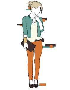 Casual Chic; Here the vibrant #bullheadblack #pacsun jeans have been paired with a teal jacket and heels, taking advantage of the fun summer color blocking trend for a night out!  These are original drawings by Madelyn Riehl (Gizmoa)