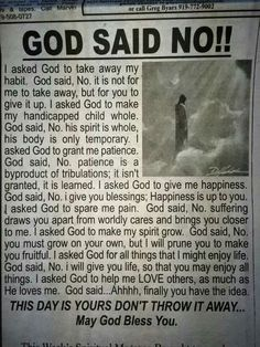 God said No...