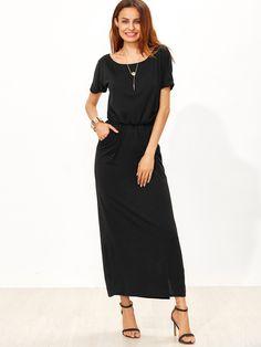 Shop Black Elastic Waist Split Side Pocket Dress online. SheIn offers Black Elastic Waist Split Side Pocket Dress & more to fit your fashionable needs.