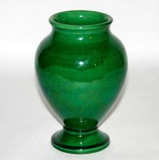Antique Vintage Arts & Crafts Awaji Art Pottery Hand Thrown Green Vase Japanese