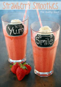 {Easy} Strawberry Smoothies Recipe  Ingredients    10 oz can frozen strawberry juice concentrate  2 cups strawberry frozen yogurt  7-10 strawberries, washed & hulled  2 cups ice  Whipped cream, optional
