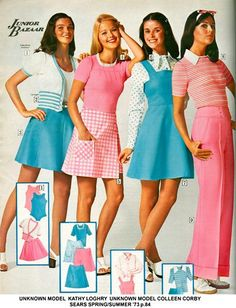 Colleen Corby early 70s pastel teen women vintage fashion style brady bunch short mini dress skirt pants sweater blouse pinafore plaid stripes sports wear day outfit suit models magazine pink blue white