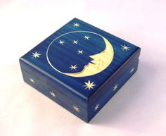 Handmade Wooden Box/ Box with Moon and Stars/ Keepsake Box/ Jewelerry Box/ Trinket Box/ Small Storage Box Wooden Box Crafts, Decorative Wooden Boxes, Painted Wooden Boxes, Small Wooden Boxes, Wood Boxes, Handmade Wooden, Wooden Jewelry Boxes, Diy Trinket Box, Wicca