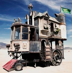 The Neverwas Haul is a self-propelled 3-story Victorian House made from 75% recycled equipment and materials. It was designed and built as a vehicle to explore the Black Rock Desert for the Burning Man Festivals in 2006 and 2007 by steampunk art collective Obtainium Works. Pinned from: Tumblr, celestial-railroad