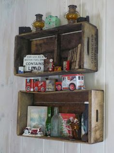 The Eclectic Cottage, grape crate shelves  'Done this for years.