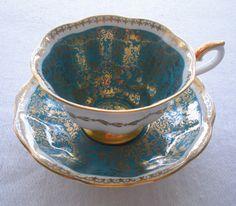 Bone China Teacup - Royal Albert Vintage Mayfair Series Unusual Turquoise