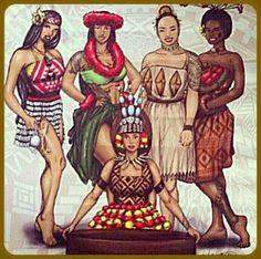 Polynesian divas: Maori, Hawaii, Tonga, Fiji and Samoa Polynesian Dance, Polynesian Designs, Polynesian Culture, Tongan Culture, Samoan Designs, Hawaiian Art, Samoan Tattoo, Island Girl, Illustration