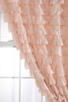 apositivelybeautifulblog:  (via BLUSHING PINK… / UrbanOutfitters.com  Waterfall Ruffle Curtain)