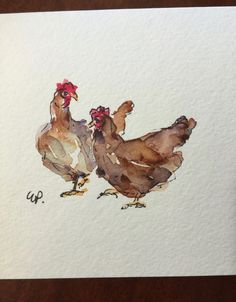 Chickens Watercolor Card / Hand Painted Watercolor Card My chickens have started laying eggs. These were new chicks in the fall. I have hand